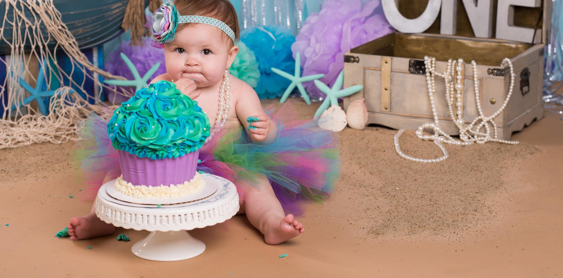 First Birthday Mermaid Themed Cake Smash
