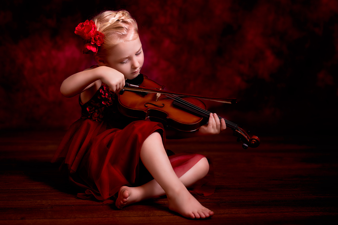 Artistic Photograph of Child playing a violin