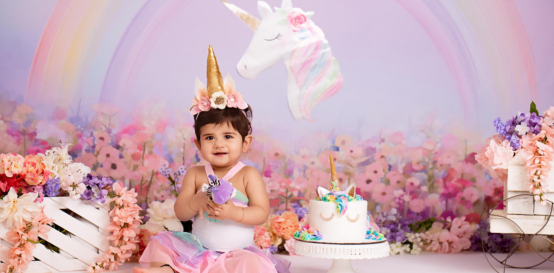 Unicorn Cake Smash Photo Session