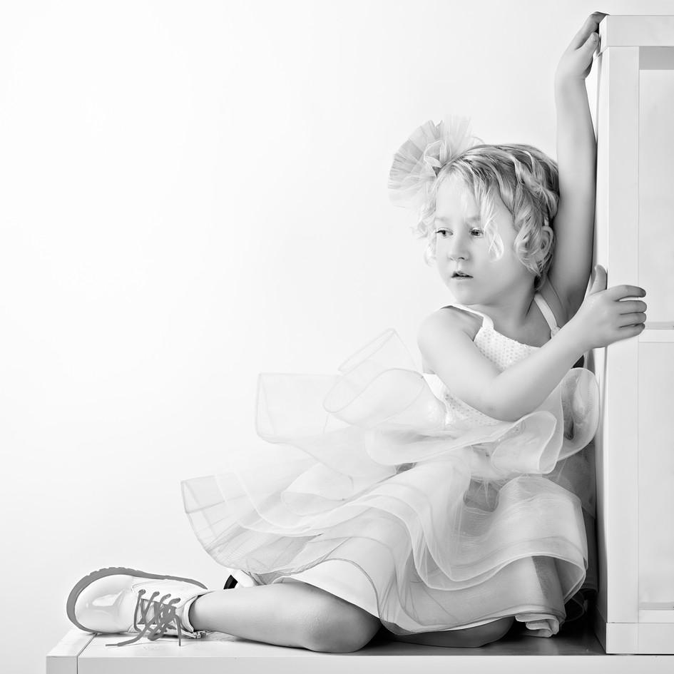 Elegant Black and White Child Photograph