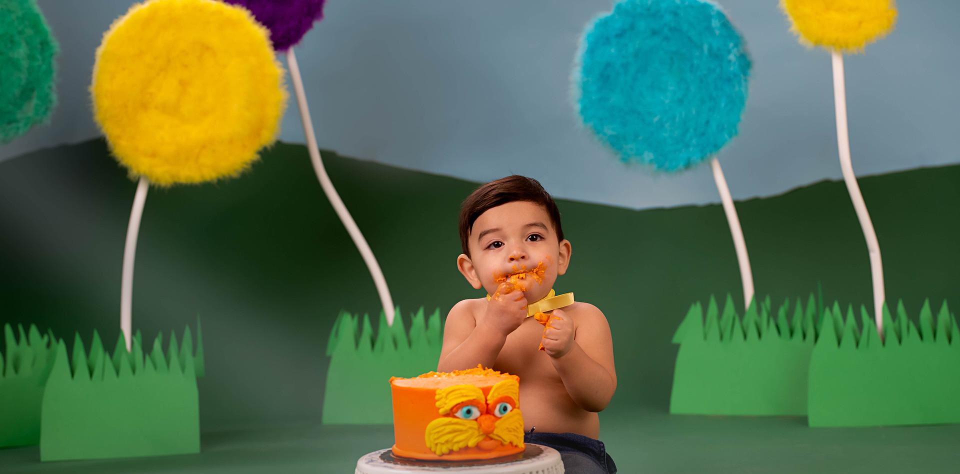 Dr Seuss The Lorax Smash Cake photo session