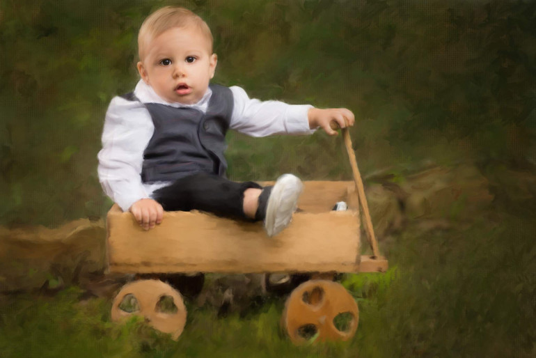Toddler Painting of a Boy in a little cart
