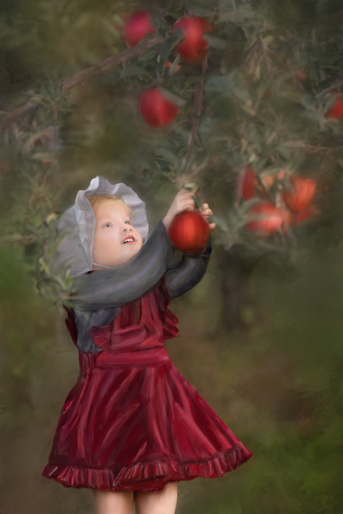 Old fashioned apple picking painting