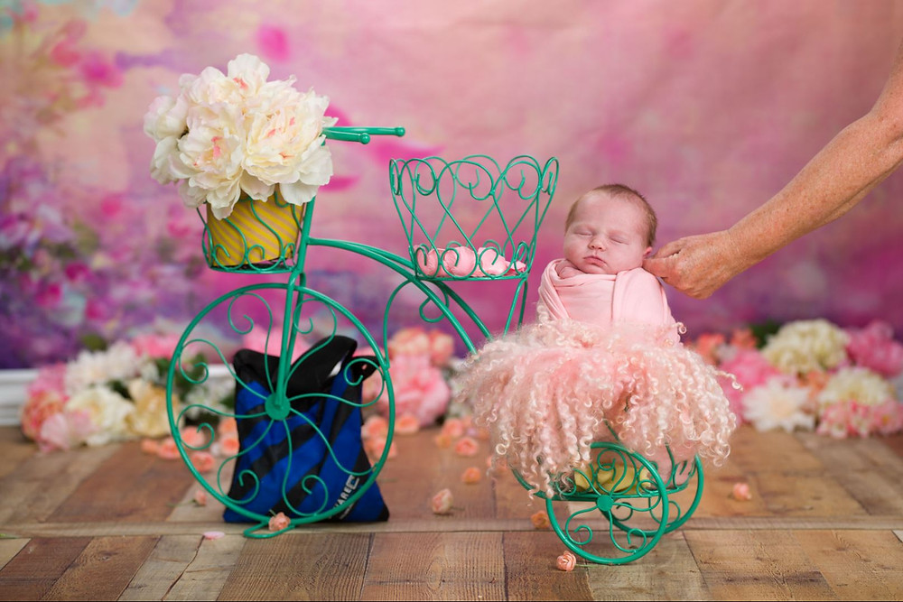 Amazing Newborn Photography with bicycle prop