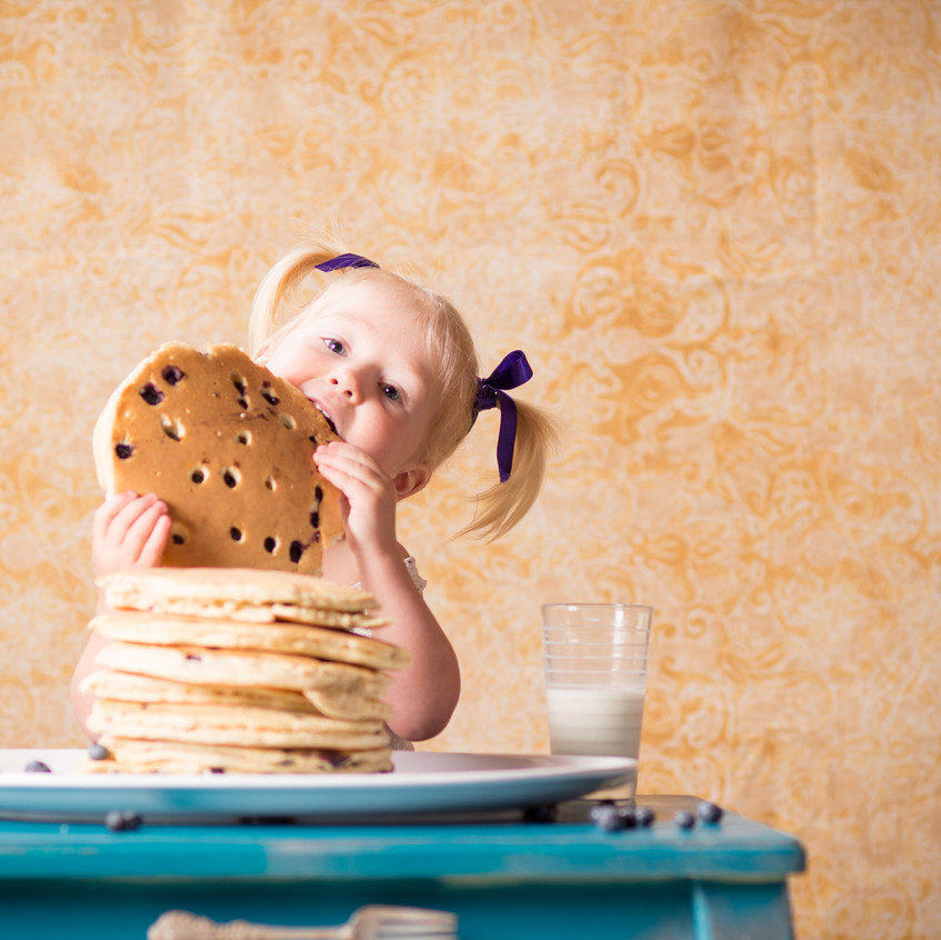 Overland Park Toddler Photography with big pancakes