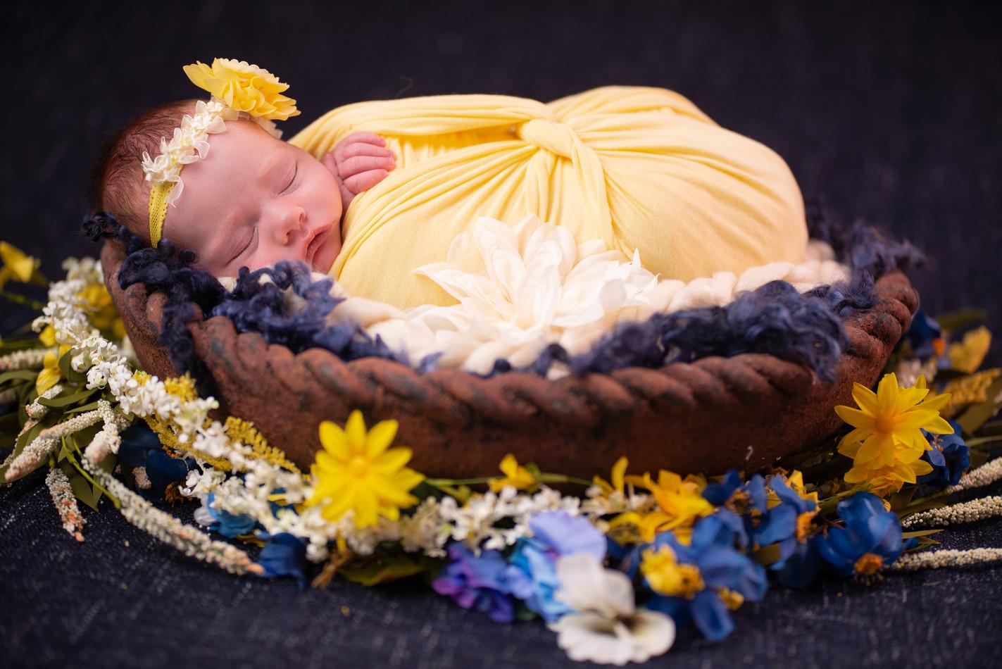 Newborn in rustic wrought iron bowl