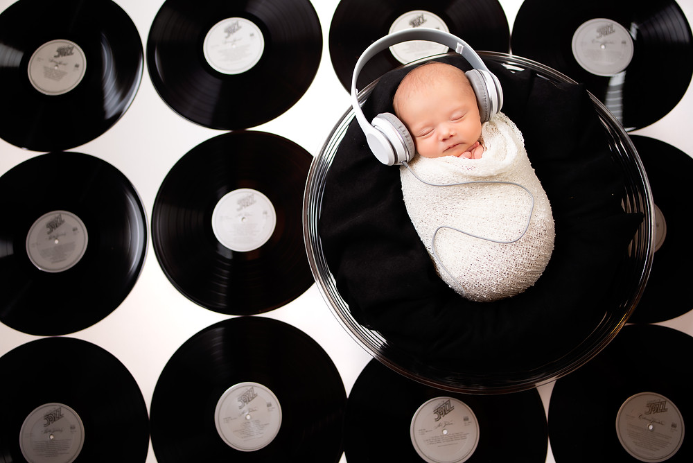 Retro music themed newborn photography in Overland Park studio