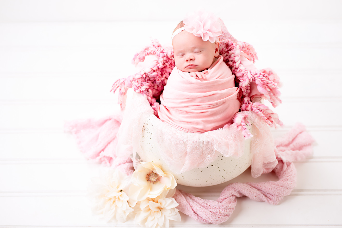A whites and neutrals newborn photography