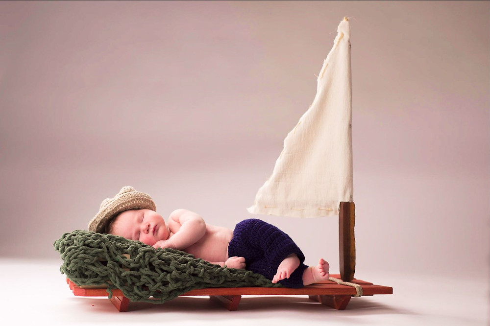 Hand made wood raft baby prop