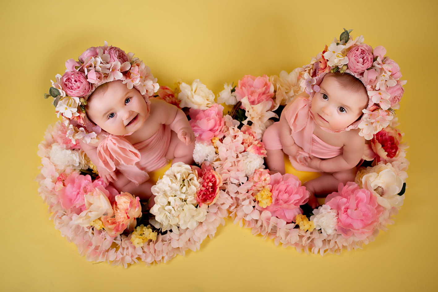 Twin photography with flower nests