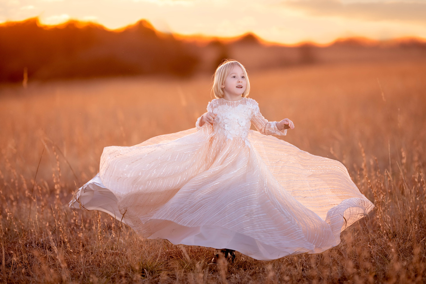 Twirling dress child photography