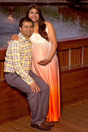 Orange ombre maternity dress