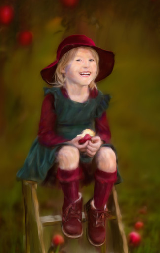 Old fashioned hand painted child portrait