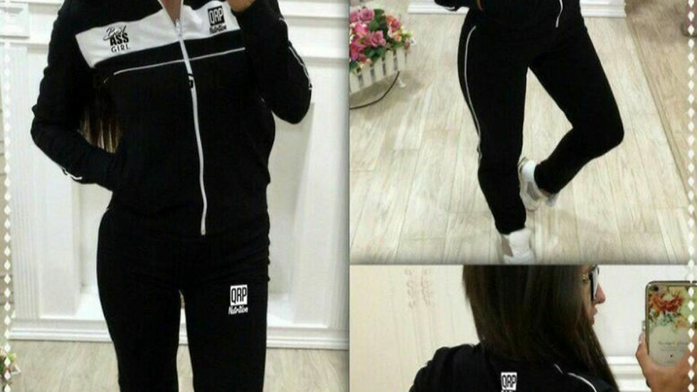 QRP Nutrition Bad Ass Girl Black Tracksuit