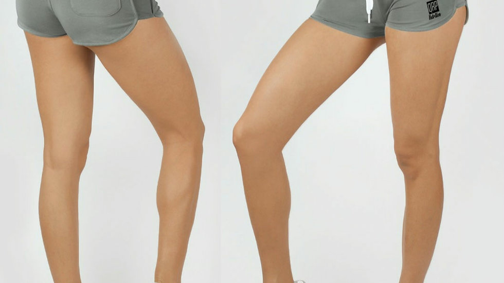 QRP Nutrition Bad Ass Girl grey shorts