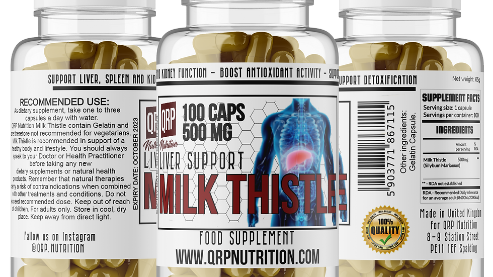 QRP Nutrition Milk Thistle 500mg 100capsules