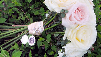 Locket of Lost One on Bridal Bouquet