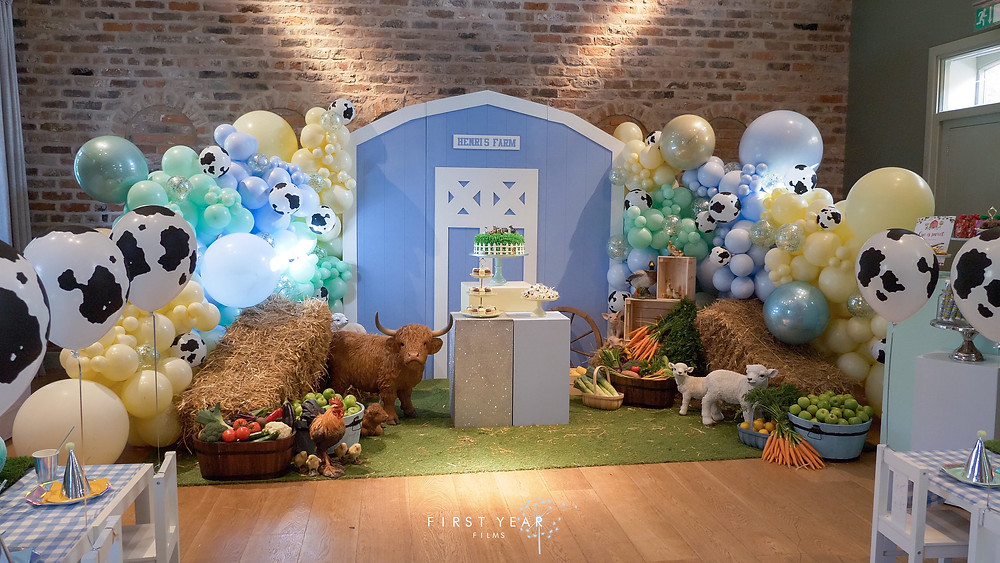 Farm-themed party backdrop from Henri Chester birthday video