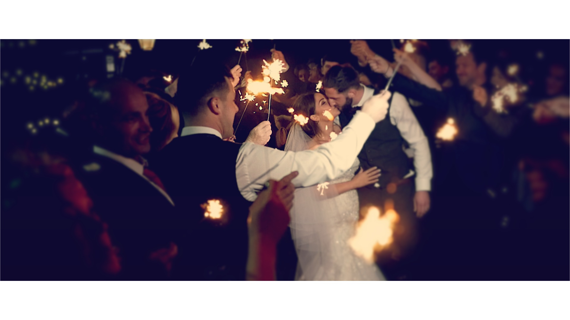 bride & groom sparkler send-off