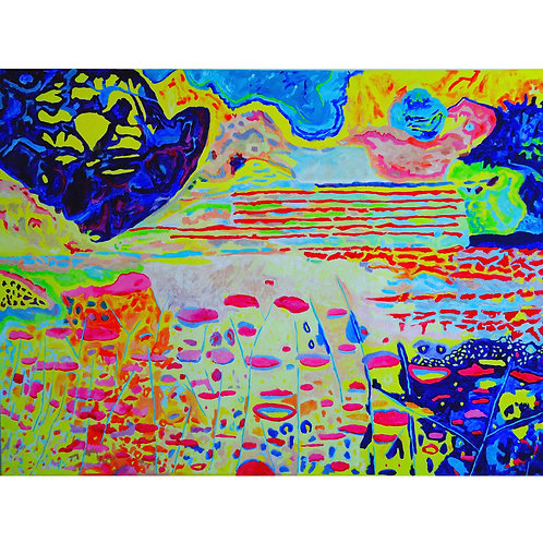 "Tjaša Iris , ""Flowers at Night"", acrylic on canvas, 120 x 160 cm, 2018"