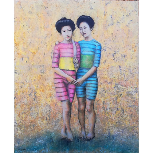 Sandra De Jaume, Bathers, acrylic on canvas, 100 x 81 cm, 2017