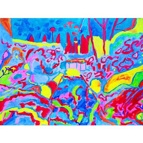 "Tjaša Iris , ""Afternoon"", acrylic on cadrboard, 20 x 30 cm, 2017"