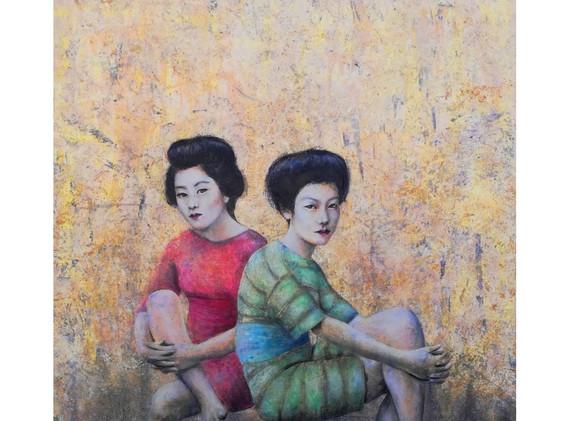 Sandra De Jaume, Bathers 2, acrylic on canvas, 100 x 81 cm, 2017