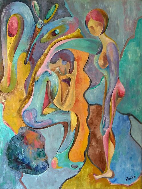 Zeiko Doka, Where Goes Your Heart, 120 x 100cm, Oil on Canvas