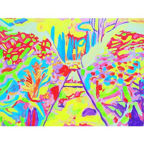 """Tjaša Iris , """"Morning"""", acrylic on cardboard, 20 x 30 cm, 2017"""