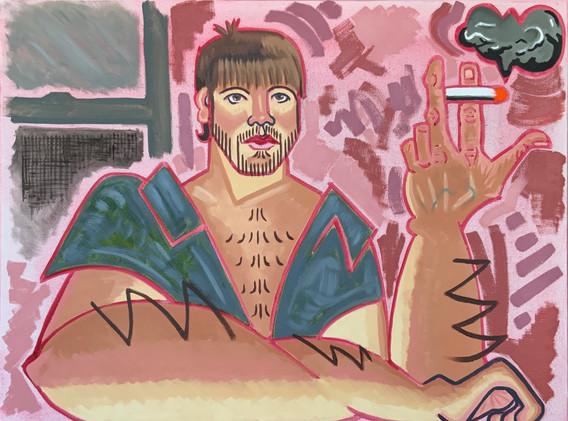 ALEX SPRAGENS, Self-Portrait with Guston Cig