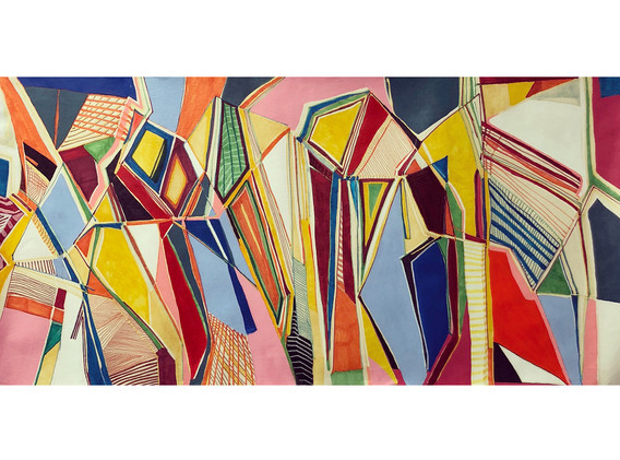 Cynthia Rojas, Midtown, ink and acrylic on handmade paper, 63.5 cm x 127cm, 2018