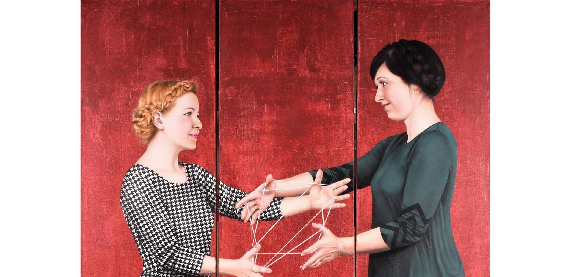 Sandra De Jaume, Spinning Friendship, acrylic on canvas, 170 x 120 cm, 2016