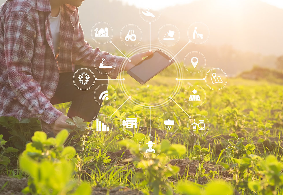 Agriculture technology farmer man using