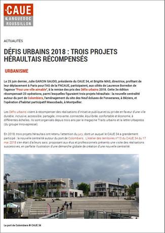 Défis urbains 2018: trois projets héraultais récompensés