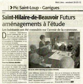 Le Midi Libre fait l'écho des réunion thématique à Saint-Hilaire-de-Beauvoir