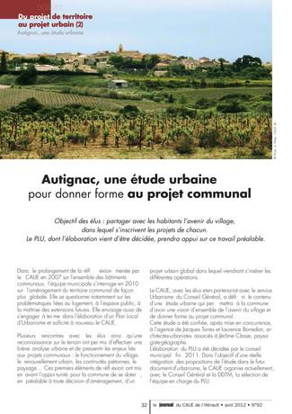 Le CAUE 34 présente l'étude urbaine d'Autignac dans son journal