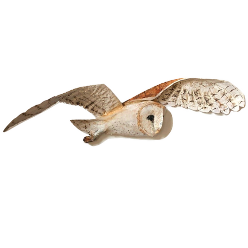 Driftwood Barn Owl in Flight