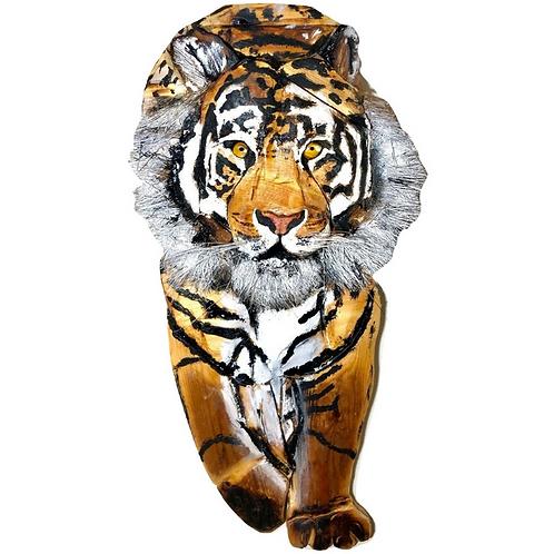 Full Tiger Sculpture - Driftwood