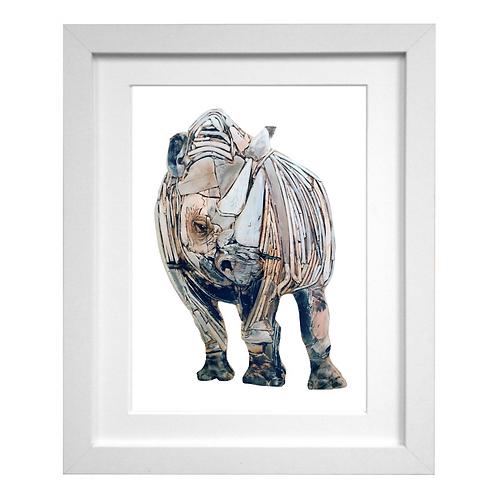 Driftwood Rhino Print