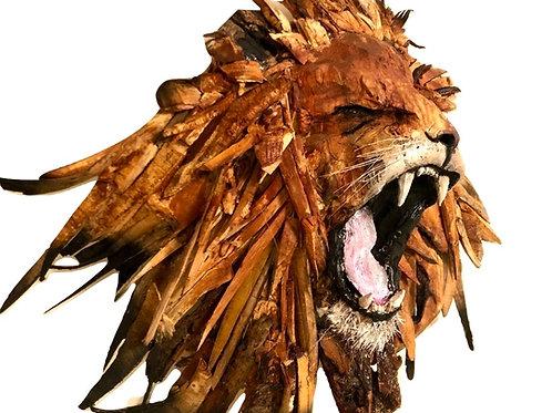 Roaring driftwood Lion Sculpture