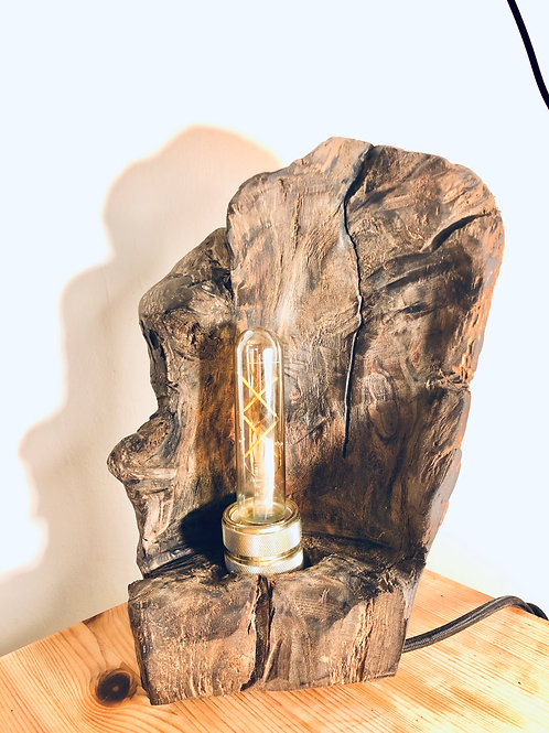 Driftwood lamp with retro Edison bulb and extra long lead.