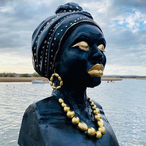 Serenity - Wood Sculpture - African Woman - Beautiful Black Woman