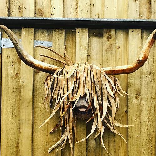 Driftwood Highland Cow (Dougal) Head Sculpture