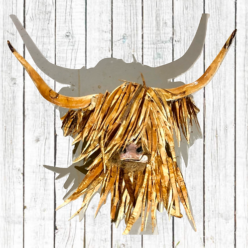 Driftwood Highland Cow Head Sculpture