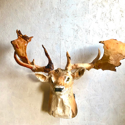Driftwood Fallow Stag Head Chainsaw Carving
