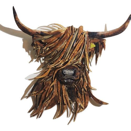Driftwood Highland Cattle Head Sculpture