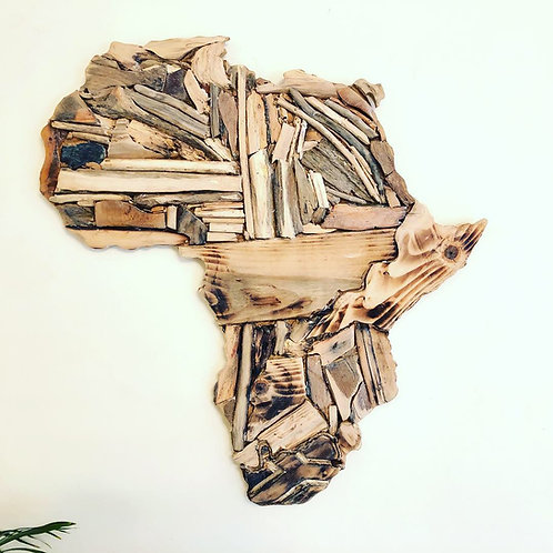 Driftwood Africa Wall Hanging with detailed South Africa