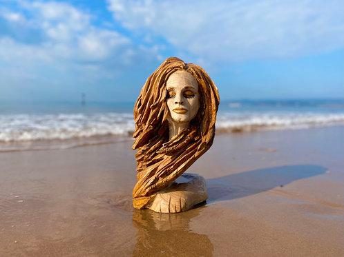 'Presence' Oak Celtic Queen - Redhead - Beautiful Woman Sculpture