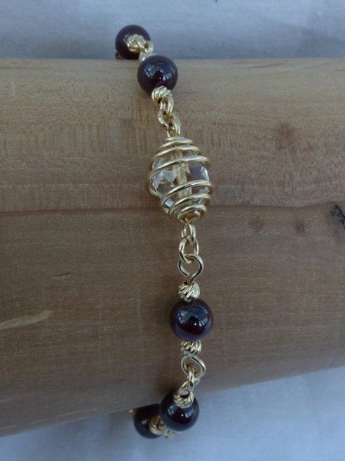 Golden Garnet and Captured Bead Bracelet - one of a kind