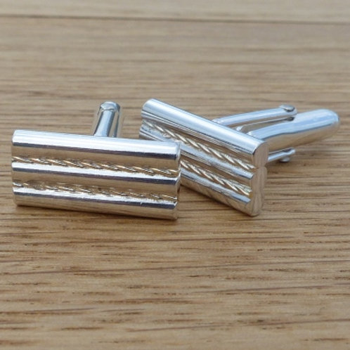 Sterling Silver Rectangular Gold Twist Pattern Cufflinks - made to order